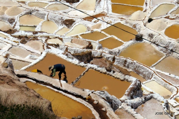 Looking down at man working in salt mines, surrounded by uneven blocks of pale yellow and golden brown with whitish salt borders